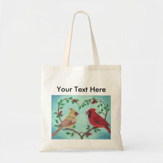 Cardinal Love Birds with Heart shap Branch Art Tote Bag