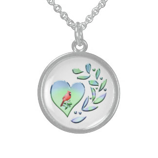 Cardinal Lover Sterling Silver Necklace