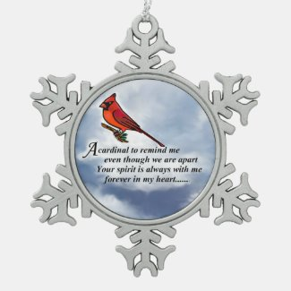 Cardinal Memorial Poem Metal Ornament