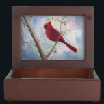 "Cardinal Memory Box<br><div class=""desc"">From an original mixed media painting by Brenda Thour of a red male cardinal sitting on a bare tree branch with an abstract blue and pink sky.  Copyright by Brenda Thour 2005.</div>"