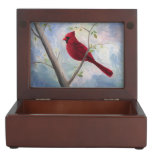 Cardinal Memory Box<br><div class='desc'>From an original mixed media painting by Brenda Thour of a red male cardinal sitting on a bare tree branch with an abstract blue and pink sky.  Copyright by Brenda Thour 2005.</div>
