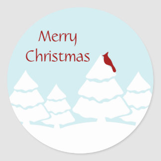 Cardinal Merry Christmas Stickers