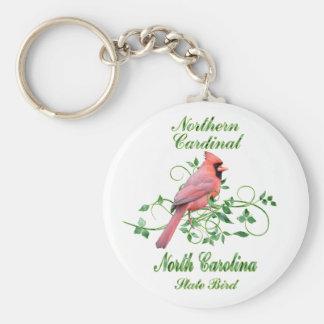 Cardinal North Carolina State Bird Basic Round Button Keychain