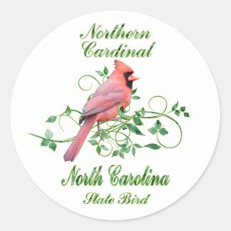 Cardinal North Carolina State Bird Classic Round Sticker