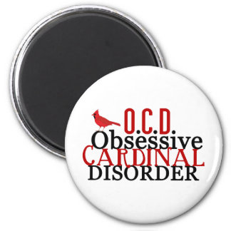 Cardinal Obsessed Funny 2 Inch Round Magnet