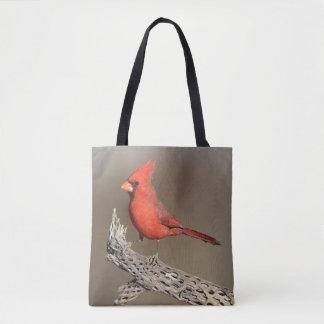 Cardinal on a cholla rib tote bag