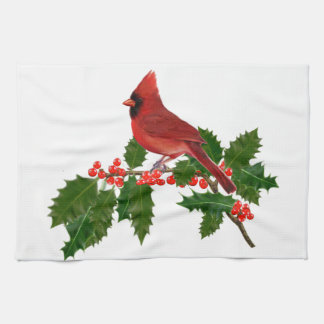 Cardinal on a Holly Leaf Kitchen Towel