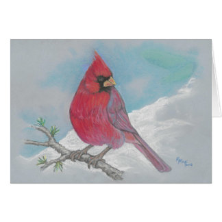 Cardinal on a larch branch card