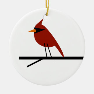 Cardinal on a Limb Ceramic Ornament