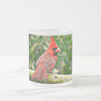 Cardinal on a Limb Frosted Glass Mug