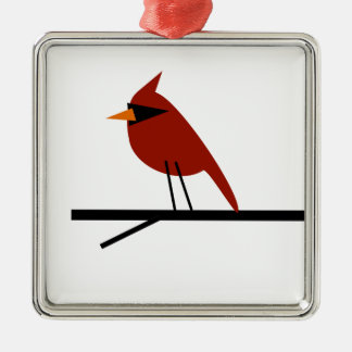 Cardinal on a Limb Metal Ornament