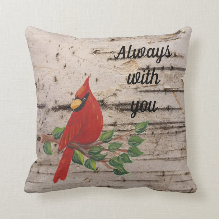 Cardinal On Birch Bark Sympathy Saying Throw Pillow Zazzle Com