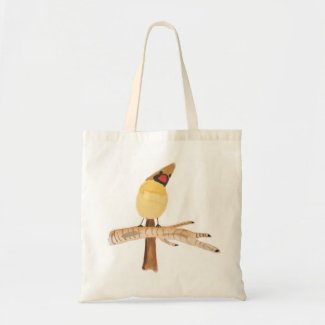 Cardinal on birch tote bag