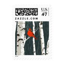 Cardinal on Birch Trees Christmas Stamp