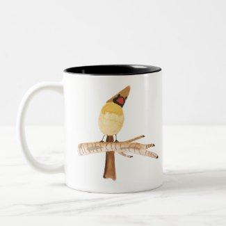 Cardinal on birch Two-Tone coffee mug