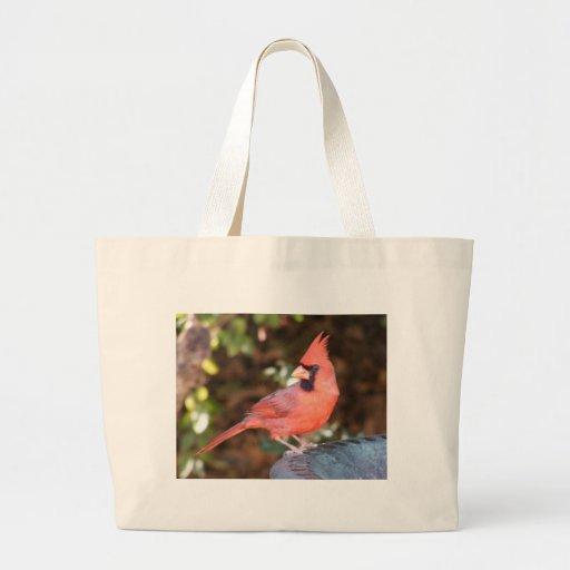 Cardinal on Bird Bath Large Tote Bag