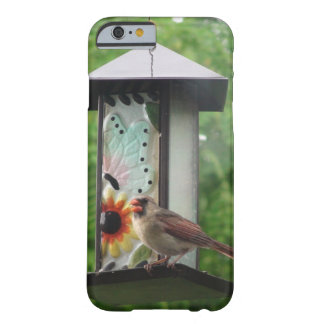 Cardinal on Birdfeeder iPhone 6/6s, Barely There Barely There iPhone 6 Case