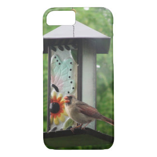 Cardinal on Birdfeeder iPhone 7, Barely There iPhone 8/7 Case