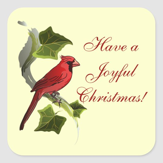 Cardinal on Branch with Ivy Leaves Christmas Square Sticker