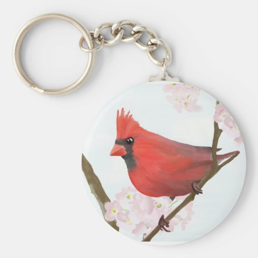 Cardinal on Cherry Blossom Key Chains