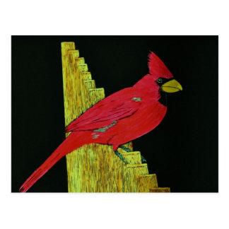 Cardinal on Fence Artwork Postcard
