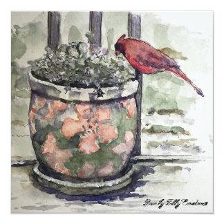 Cardinal on Flower Pot Winter Scene Card