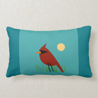 Cardinal on Grass with Aqua Blue Green Lumbar Pillow