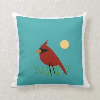 Cardinal on Grass with Aqua Blue Green Throw Pillow