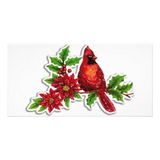 cardinal on holly vine card