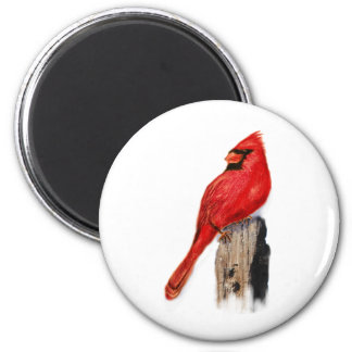 Cardinal on Post 2 Inch Round Magnet