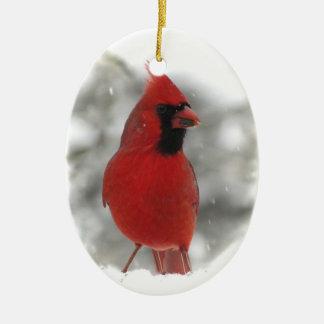 Cardinal Double-Sided Oval Ceramic Christmas Ornament