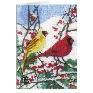 Cardinal Pair in the Mountain Snow Card