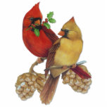 """Cardinal Pair Statuette<br><div class=""""desc"""">Richly detailed Cardinal birds resting on pine branch with cones and red Cardinal has holly twig.</div>"""