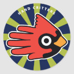 Hand shaped Cardinal Red Bird Classic Round Sticker