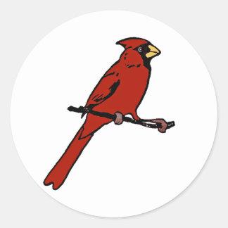 Cardinal - Red Bird (color illustration) Classic Round Sticker