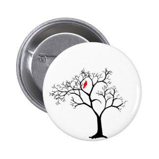 Cardinal Red Bird in Snowy Winter Tree 2 Inch Round Button