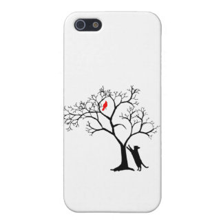 Cardinal Red Bird in Snowy Winter Tree & Cat Case For iPhone SE/5/5s