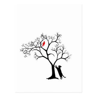 Cardinal Red Bird in Snowy Winter Tree & Cat Postcard