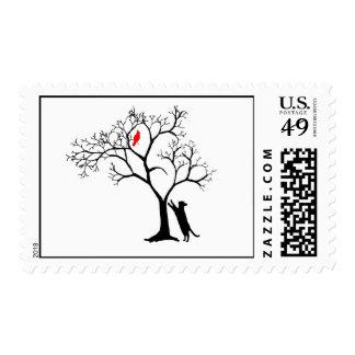 Cardinal Red Bird in Snowy Winter Tree & Cat stamp