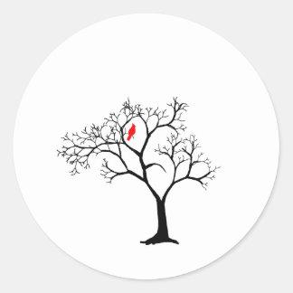 Cardinal Red Bird in Snowy Winter Tree Classic Round Sticker