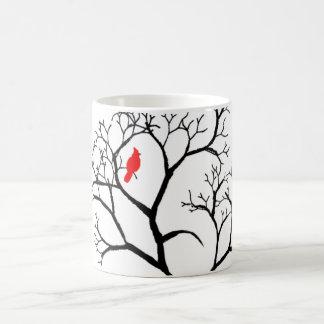 Cardinal Red Bird in Snowy Winter Tree Classic White Coffee Mug