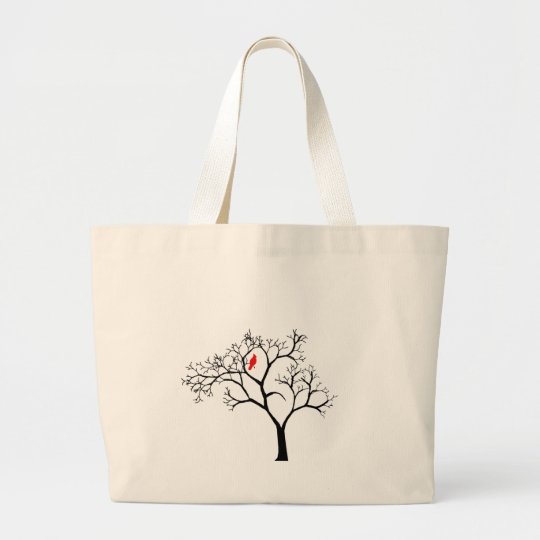 Cardinal Red Bird in Snowy Winter Tree Large Tote Bag