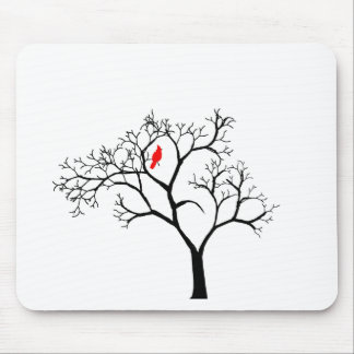 Cardinal Red Bird in Snowy Winter Tree Mouse Pad