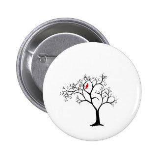 Cardinal Red Bird in Snowy Winter Tree Pinback Button