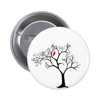 Cardinal Red Bird in Snowy Winter Tree Pinback Button