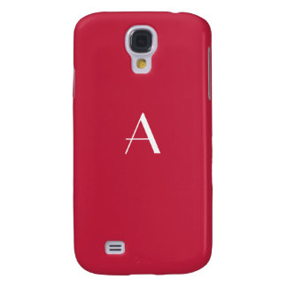 Cardinal Red with White Monogram Samsung Galaxy S4 Case