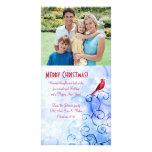 Cardinal rojo y remolinos: Tarjeta de Navidad de Tarjetas Fotográficas Personalizadas