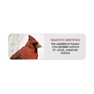 Cardinal Season's Greetings Return Address Labels