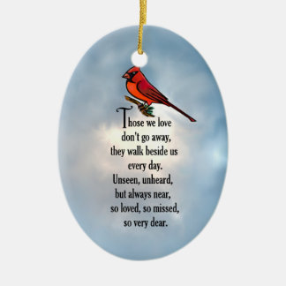 "Cardinal ""So Loved"" Poem Ceramic Ornament"