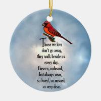 """Cardinal """"So Loved"""" Poem Ceramic Ornament"""